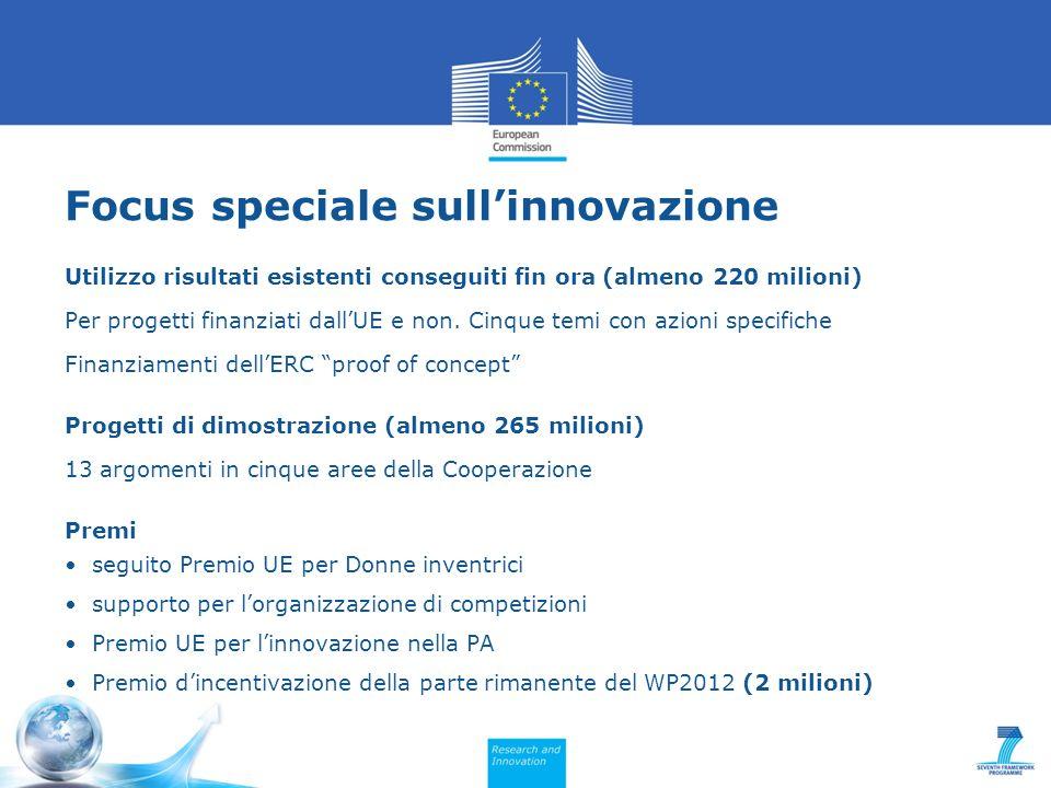 Focus speciale sullinnovazione Utilizzo risultati esistenti conseguiti fin ora (almeno 220 milioni) Per progetti finanziati dallUE e non.