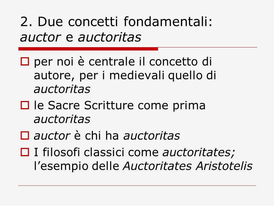 2. Due concetti fondamentali: auctor e auctoritas per noi è centrale il concetto di autore, per i medievali quello di auctoritas le Sacre Scritture co