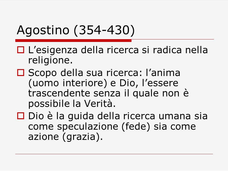 Agostino (354-430) Lesigenza della ricerca si radica nella religione. Scopo della sua ricerca: lanima (uomo interiore) e Dio, lessere trascendente sen
