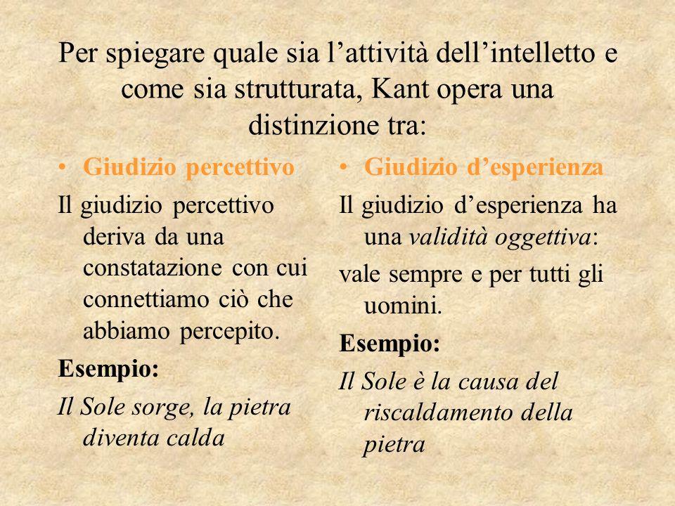 Per spiegare quale sia lattività dellintelletto e come sia strutturata, Kant opera una distinzione tra: Giudizio percettivo Il giudizio percettivo der
