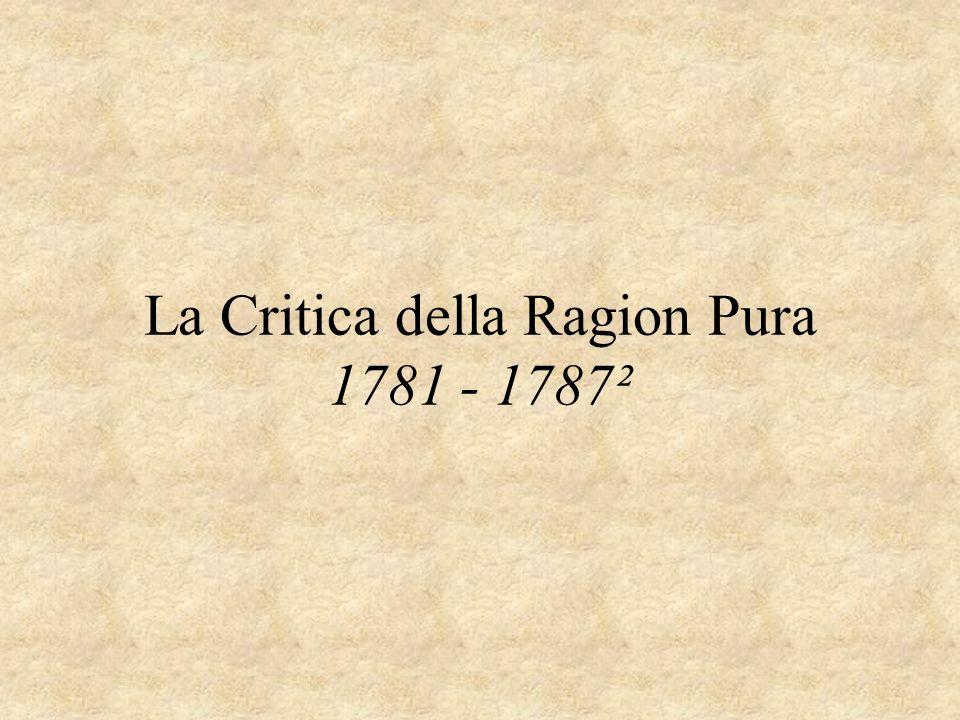 La Critica della Ragion Pura 1781 - 1787²