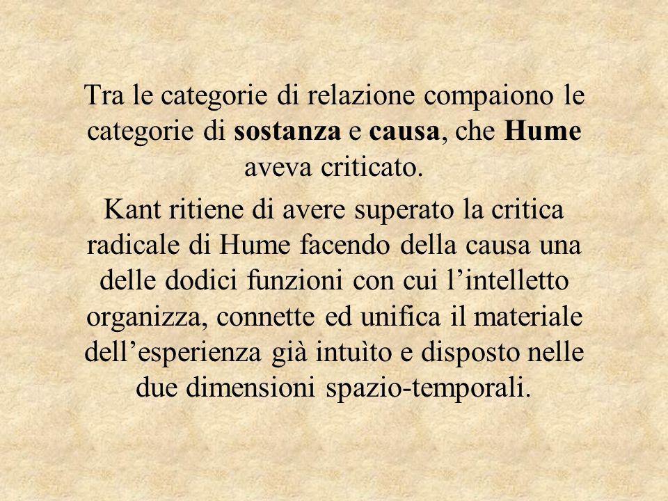 Tra le categorie di relazione compaiono le categorie di sostanza e causa, che Hume aveva criticato. Kant ritiene di avere superato la critica radicale