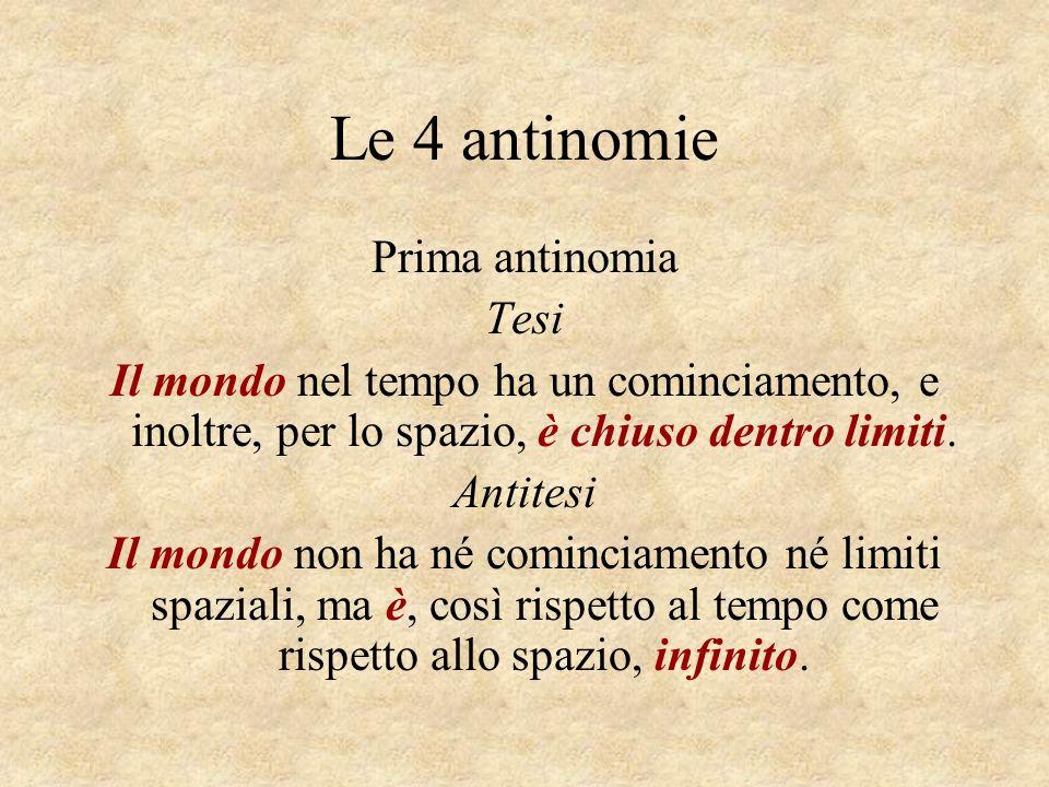 Le 4 antinomie Prima antinomia Tesi Il mondo nel tempo ha un cominciamento, e inoltre, per lo spazio, è chiuso dentro limiti. Antitesi Il mondo non ha