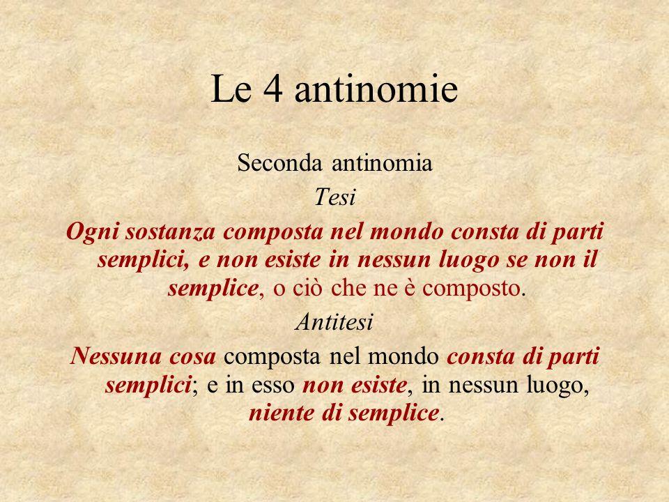 Le 4 antinomie Seconda antinomia Tesi Ogni sostanza composta nel mondo consta di parti semplici, e non esiste in nessun luogo se non il semplice, o ci