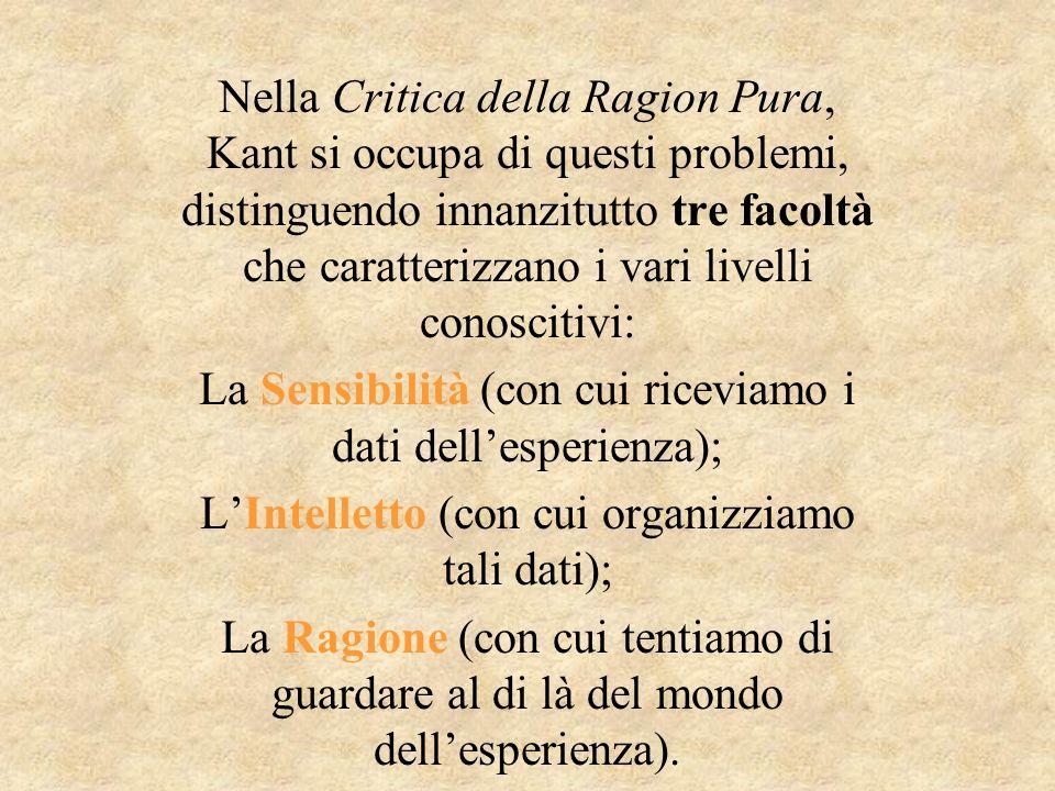 Nella Critica della Ragion Pura, Kant si occupa di questi problemi, distinguendo innanzitutto tre facoltà che caratterizzano i vari livelli conoscitiv