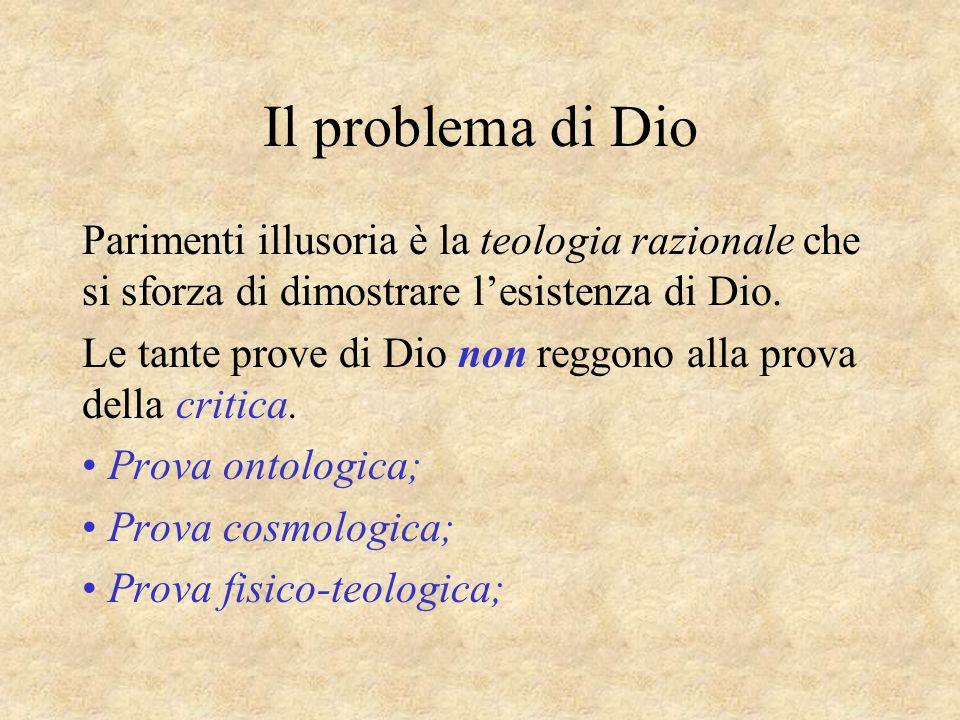 Il problema di Dio Parimenti illusoria è la teologia razionale che si sforza di dimostrare lesistenza di Dio. Le tante prove di Dio non reggono alla p