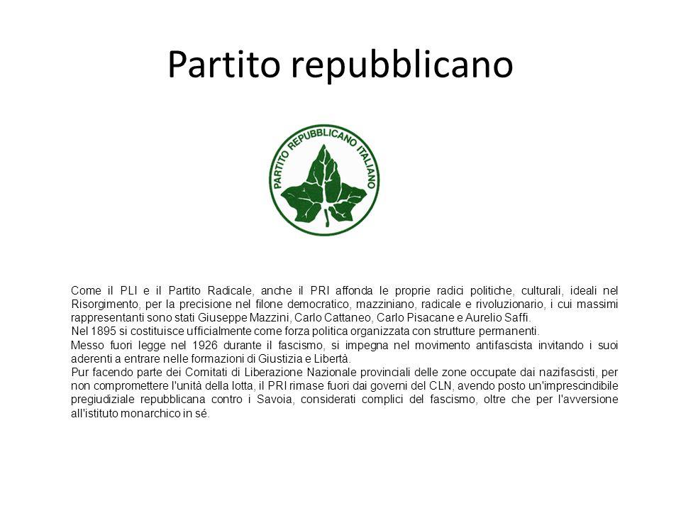 Partito repubblicano Come il PLI e il Partito Radicale, anche il PRI affonda le proprie radici politiche, culturali, ideali nel Risorgimento, per la p