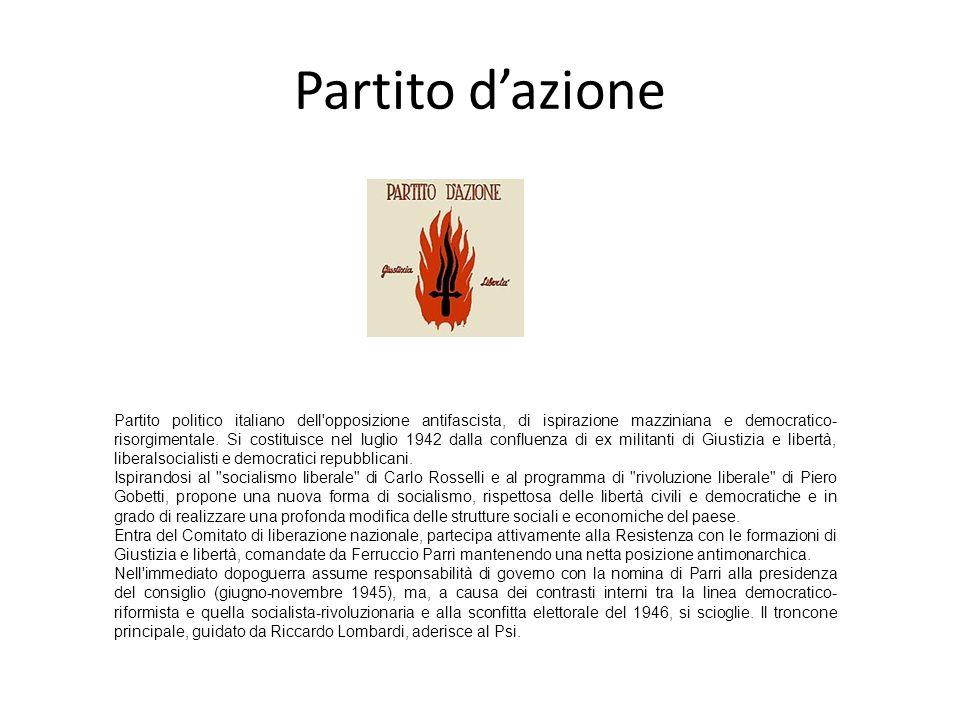 Partito dazione Partito politico italiano dell'opposizione antifascista, di ispirazione mazziniana e democratico- risorgimentale. Si costituisce nel l
