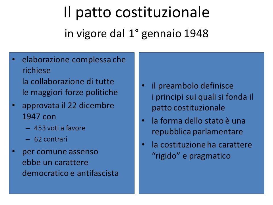 Il patto costituzionale in vigore dal 1° gennaio 1948 elaborazione complessa che richiese la collaborazione di tutte le maggiori forze politiche appro