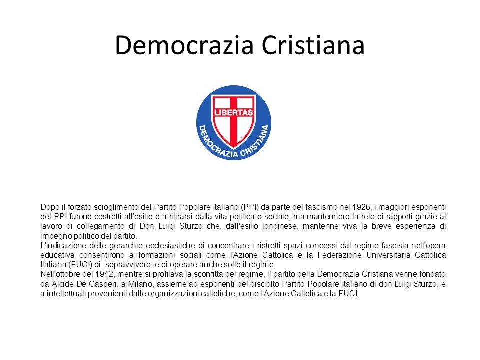 Democrazia Cristiana Dopo il forzato scioglimento del Partito Popolare Italiano (PPI) da parte del fascismo nel 1926, i maggiori esponenti del PPI fur