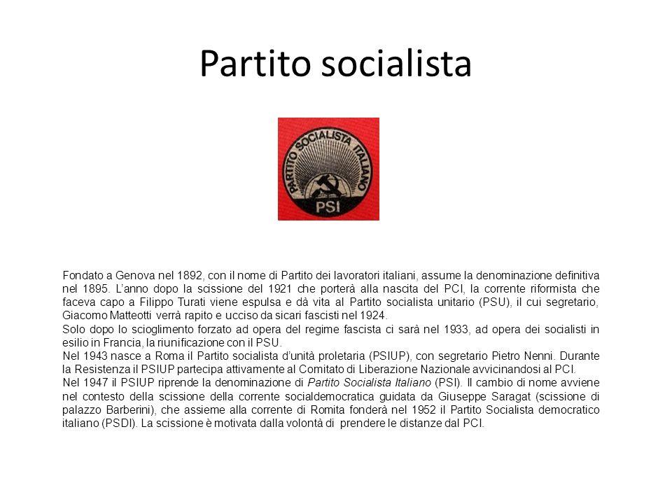 Partito socialista Fondato a Genova nel 1892, con il nome di Partito dei lavoratori italiani, assume la denominazione definitiva nel 1895. Lanno dopo