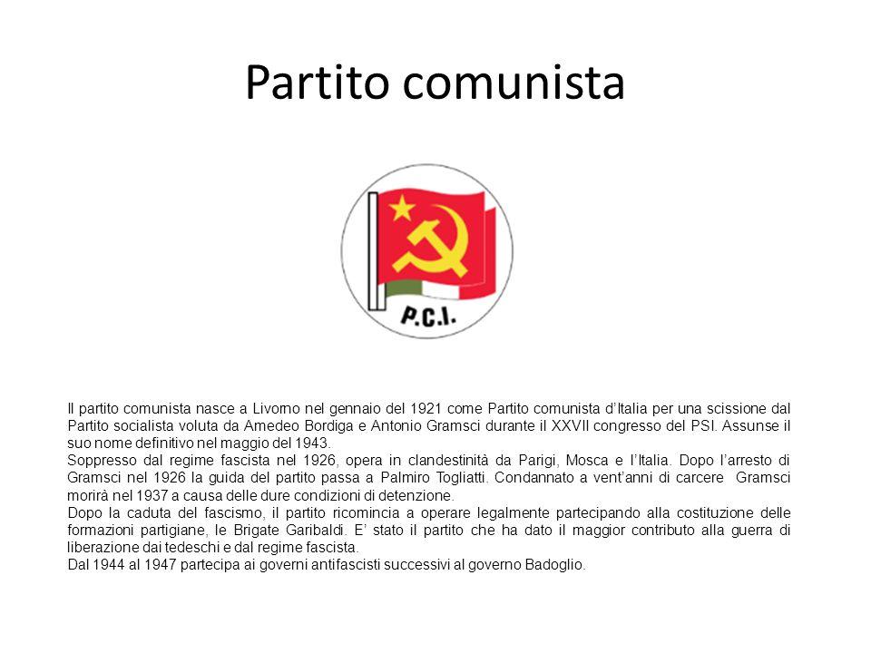 Partito comunista Il partito comunista nasce a Livorno nel gennaio del 1921 come Partito comunista dItalia per una scissione dal Partito socialista vo