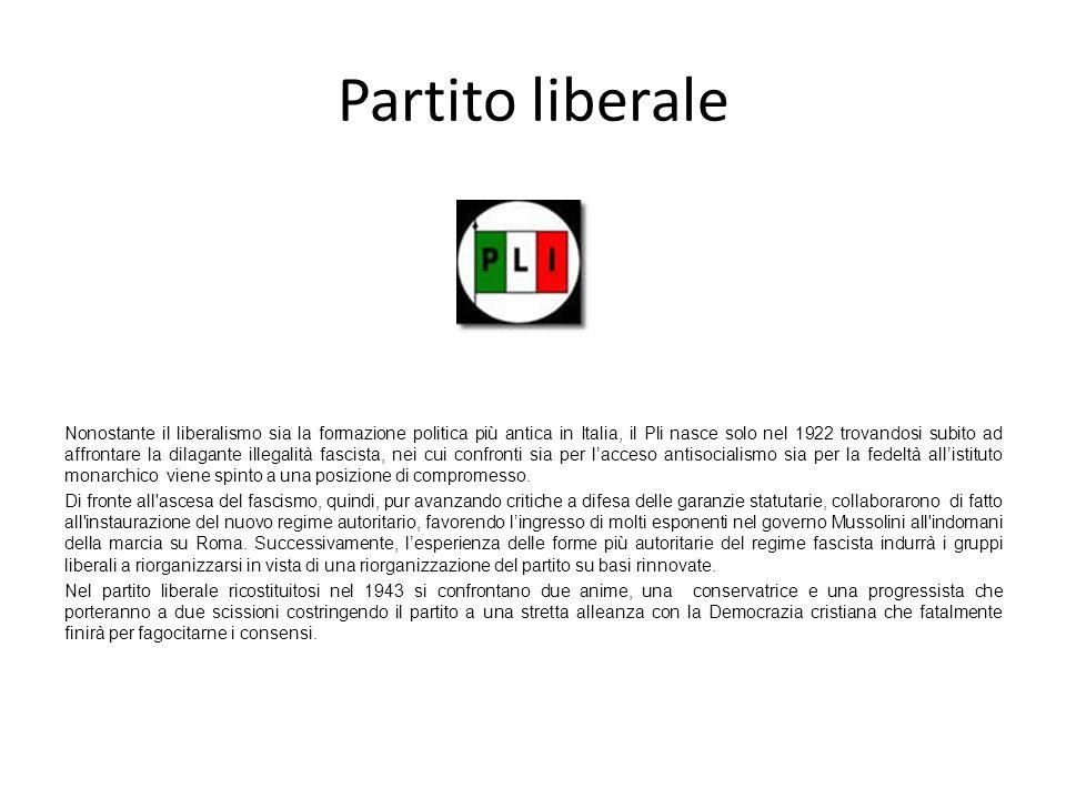 Partito liberale Nonostante il liberalismo sia la formazione politica più antica in Italia, il Pli nasce solo nel 1922 trovandosi subito ad affrontare