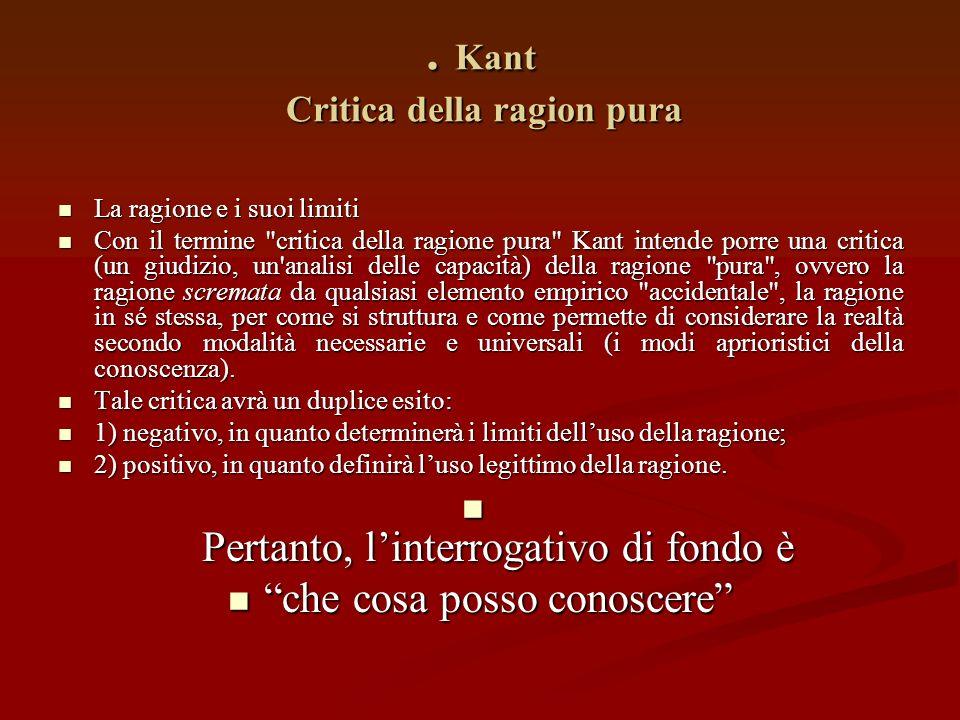 Conoscenza a priori e conoscenza a posteriori Per Kant la conoscenza universale e necessaria, ovvero la conoscenza che si pone al di sopra delle opini
