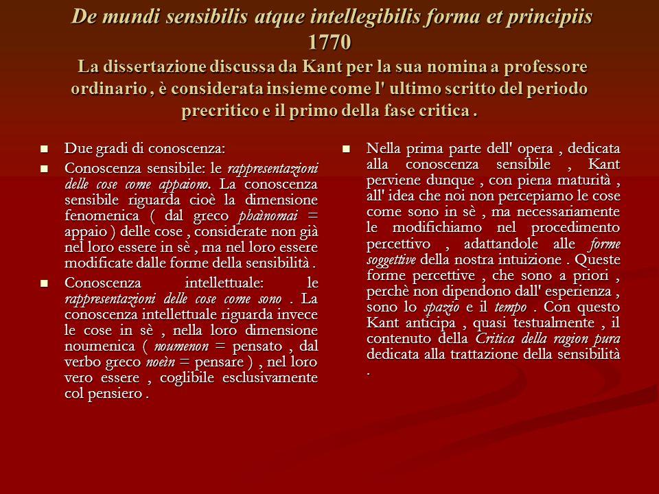De mundi sensibilis atque intellegibilis forma et principiis 1770 La dissertazione discussa da Kant per la sua nomina a professore ordinario, è considerata insieme come l ultimo scritto del periodo precritico e il primo della fase critica.