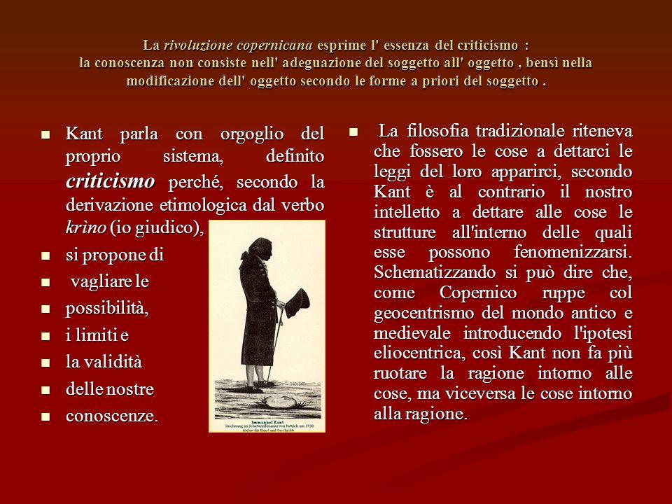 La rivoluzione copernicana esprime l essenza del criticismo : la conoscenza non consiste nell adeguazione del soggetto all oggetto, bensì nella modificazione dell oggetto secondo le forme a priori del soggetto.