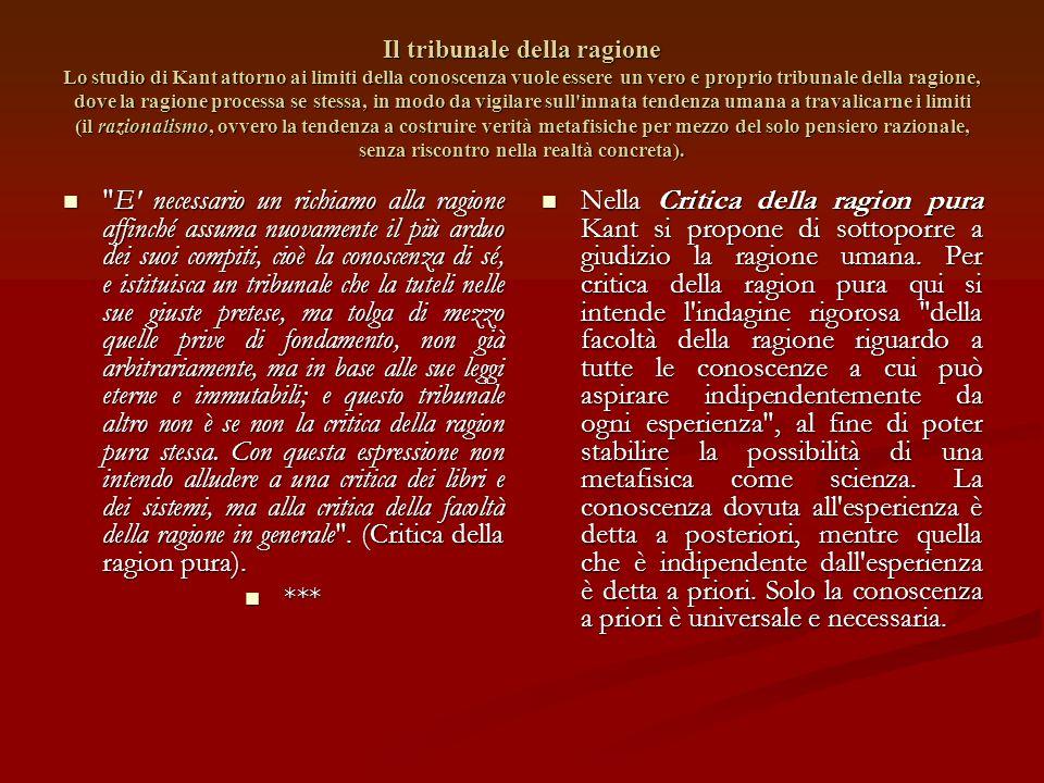 La rivoluzione copernicana esprime l' essenza del criticismo : la conoscenza non consiste nell' adeguazione del soggetto all' oggetto, bensì nella mod