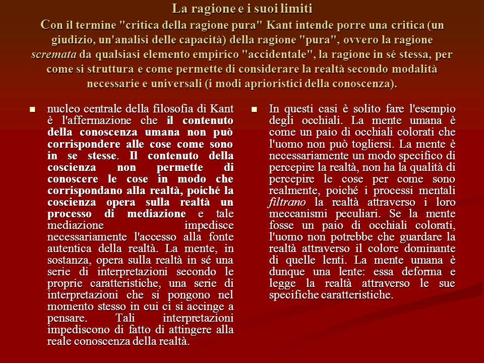 Il tribunale della ragione Lo studio di Kant attorno ai limiti della conoscenza vuole essere un vero e proprio tribunale della ragione, dove la ragion