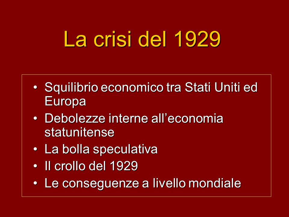 La crisi del 1929 Squilibrio economico tra Stati Uniti ed EuropaSquilibrio economico tra Stati Uniti ed Europa Debolezze interne alleconomia statunite