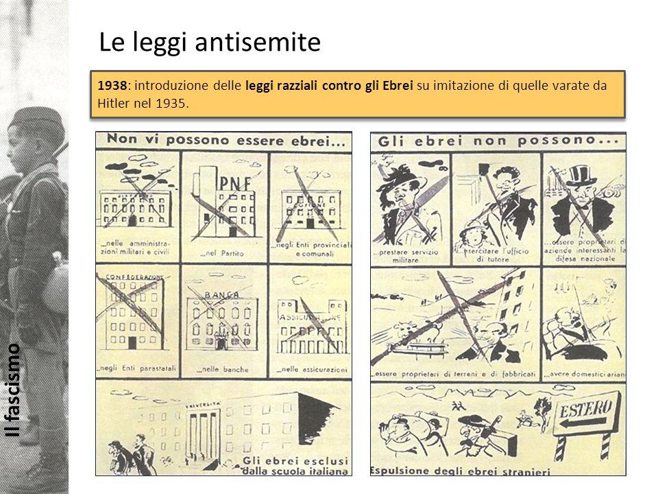 Il fascismo Le leggi antisemite 1938: introduzione delle leggi razziali contro gli Ebrei su imitazione di quelle varate da Hitler nel 1935.