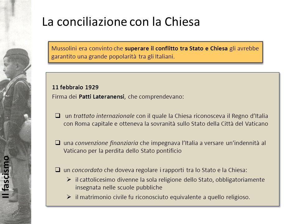 Il fascismo La conciliazione con la Chiesa Mussolini era convinto che superare il conflitto tra Stato e Chiesa gli avrebbe garantito una grande popolarità tra gli Italiani.