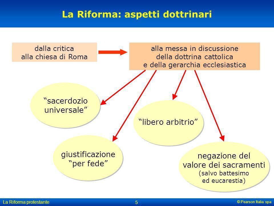 © Pearson Italia spa La Riforma protestante 5 La Riforma: aspetti dottrinari dalla critica alla chiesa di Roma alla messa in discussione della dottrin