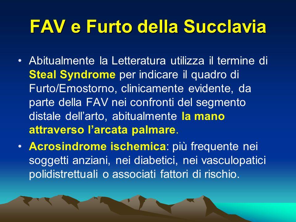 FAV e Furto della Succlavia Abitualmente la Letteratura utilizza il termine di Steal Syndrome per indicare il quadro di Furto/Emostorno, clinicamente