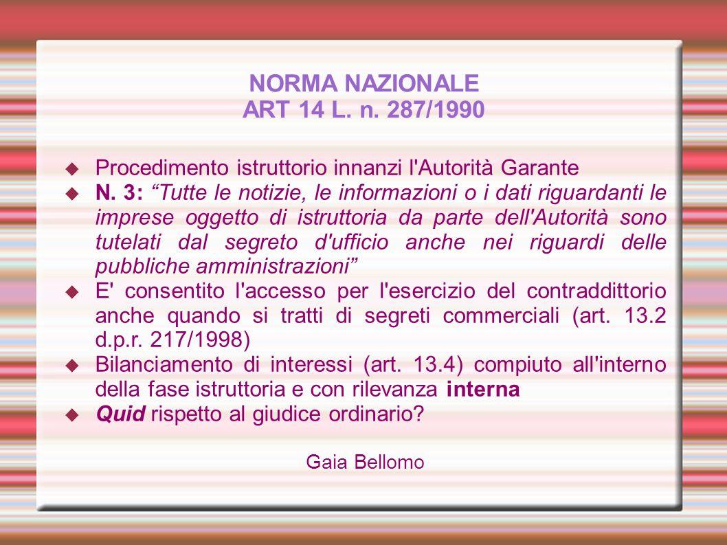 NORMA NAZIONALE ART 14 L. n. 287/1990 Procedimento istruttorio innanzi l'Autorità Garante N. 3: Tutte le notizie, le informazioni o i dati riguardanti