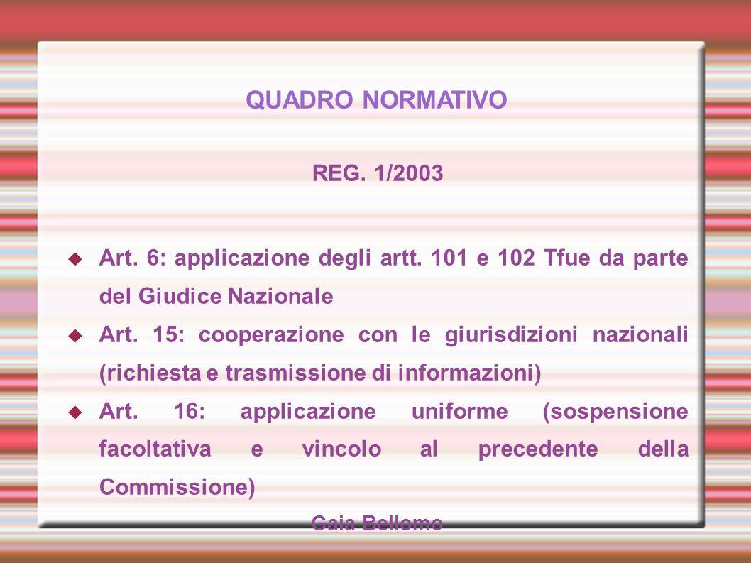 QUADRO NORMATIVO REG. 1/2003 Art. 6: applicazione degli artt. 101 e 102 Tfue da parte del Giudice Nazionale Art. 15: cooperazione con le giurisdizioni