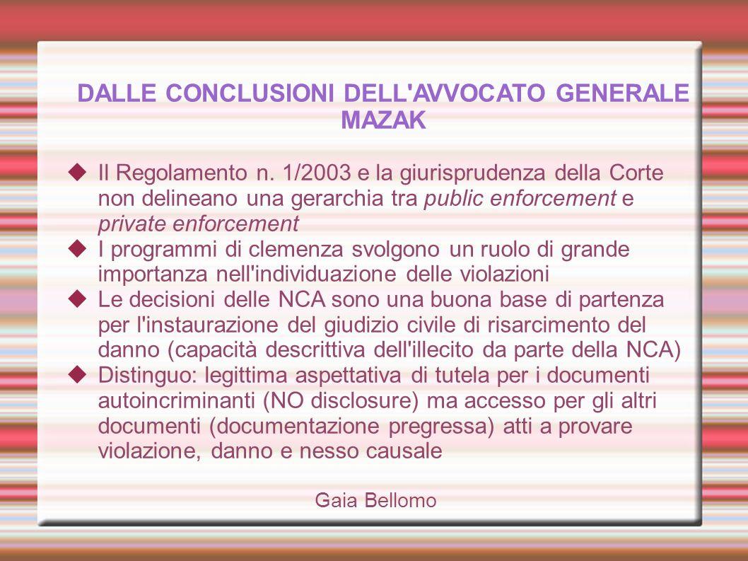 DALLE CONCLUSIONI DELL'AVVOCATO GENERALE MAZAK Il Regolamento n. 1/2003 e la giurisprudenza della Corte non delineano una gerarchia tra public enforce