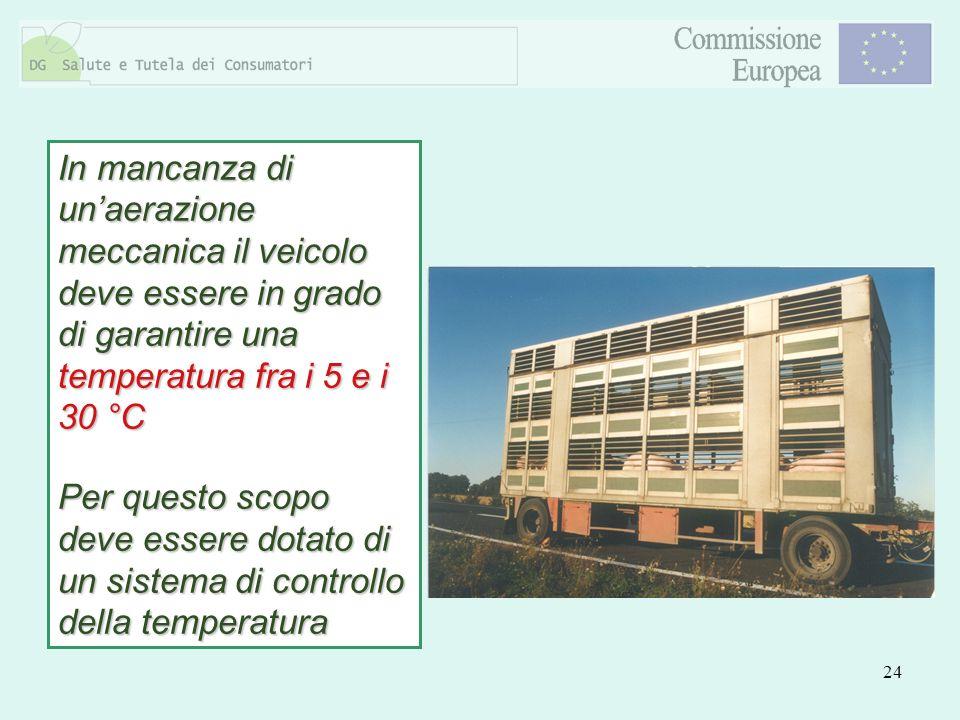 24 In mancanza di unaerazione meccanica il veicolo deve essere in grado di garantire una temperatura fra i 5 e i 30 °C Per questo scopo deve essere do