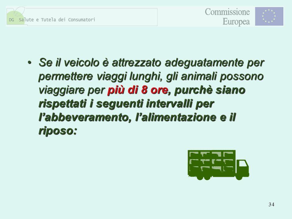 34 Se il veicolo è attrezzato adeguatamente per permettere viaggi lunghi, gli animali possono viaggiare per più di 8 ore, purchè siano rispettati i se