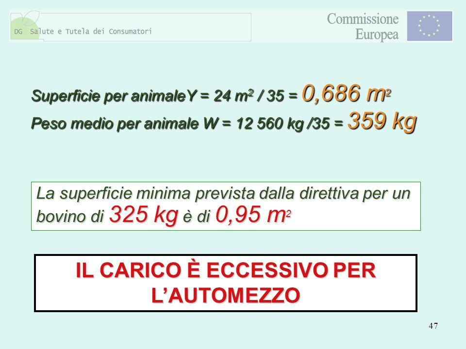 47 IL CARICO È ECCESSIVO PER LAUTOMEZZO La superficie minima prevista dalla direttiva per un bovino di 325 kg è di 0,95 m 2 Superficie per animaleY =
