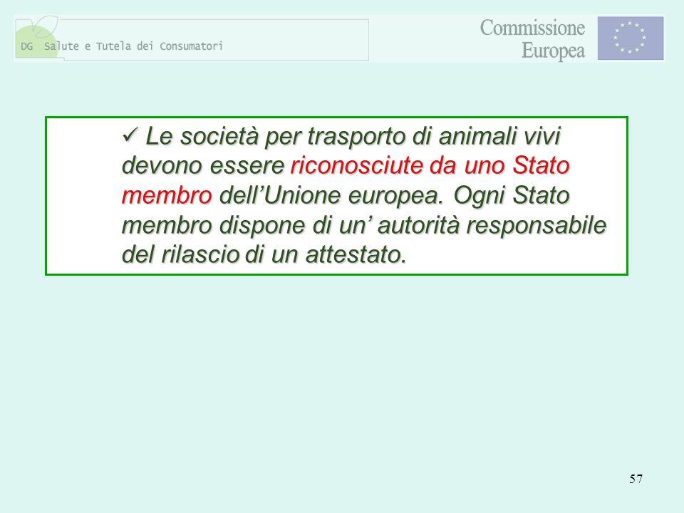 57 Le società per trasporto di animali vivi devono essere riconosciute da uno Stato membro dellUnione europea. Ogni Stato membro dispone di un autorit