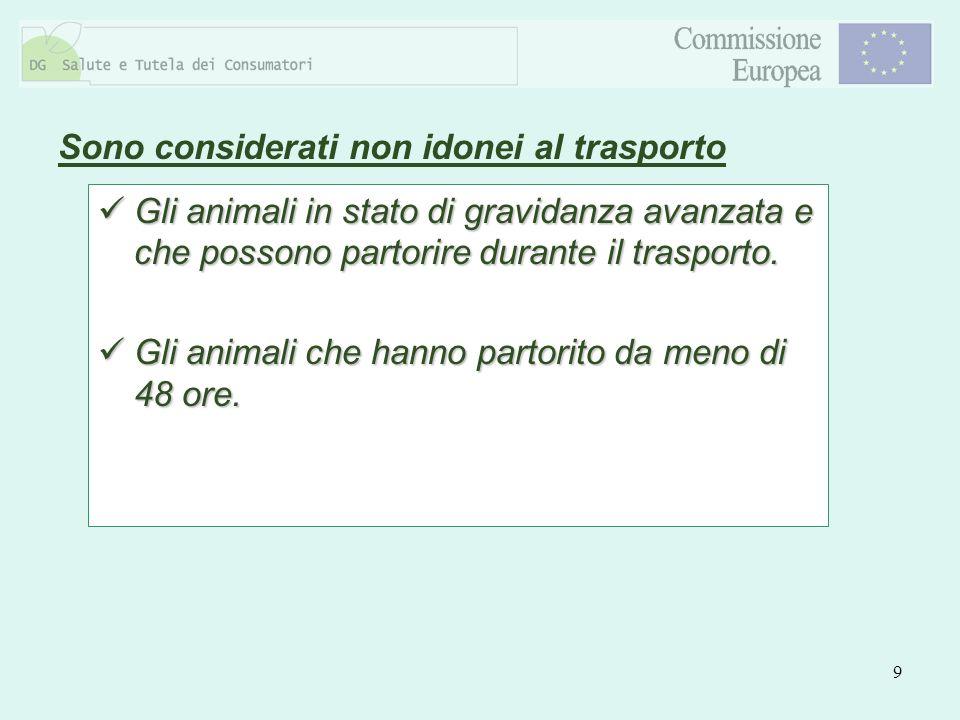 10 Sono considerati non idonei al trasporto Gli animali appena nati il cui ombelico non sia del tutto cicatrizzato.