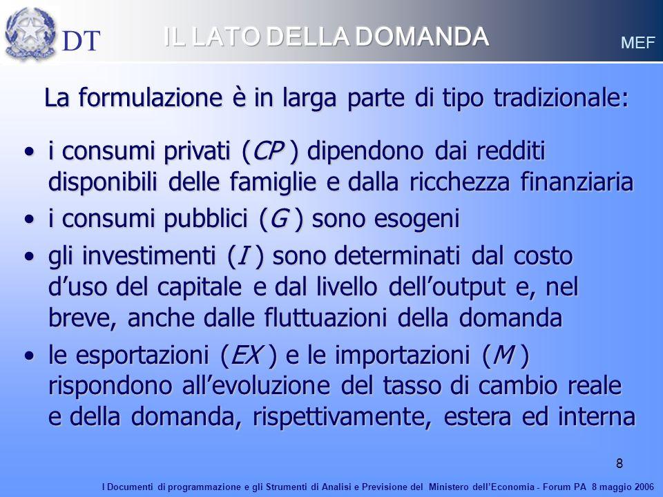8 La formulazione è in larga parte di tipo tradizionale: La formulazione è in larga parte di tipo tradizionale: i consumi privati (CP ) dipendono dai