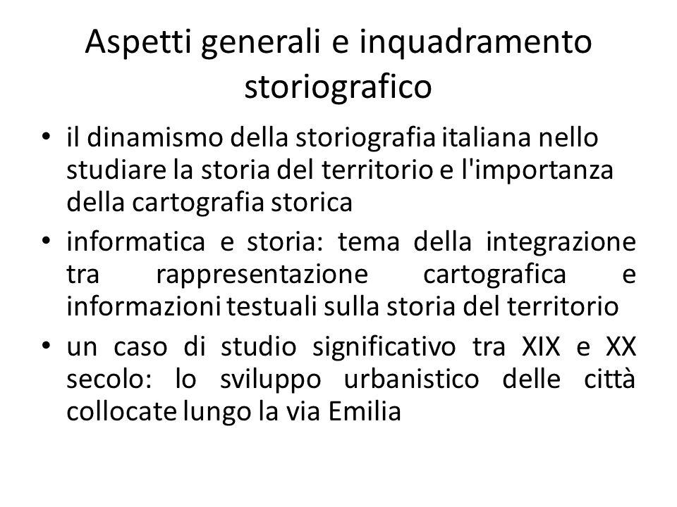 Aspetti generali e inquadramento storiografico il dinamismo della storiografia italiana nello studiare la storia del territorio e l'importanza della c