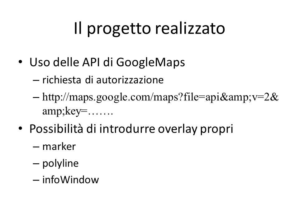 Il progetto realizzato Uso delle API di GoogleMaps – richiesta di autorizzazione – http://maps.google.com/maps?file=api&v=2& amp;key=……. Possibili