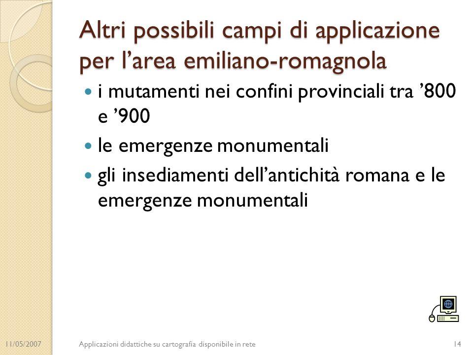 11/05/2007Applicazioni didattiche su cartografia disponibile in rete Altri possibili campi di applicazione per larea emiliano-romagnola i mutamenti ne