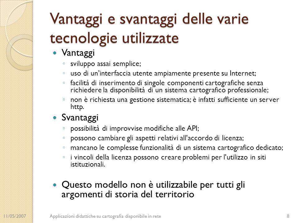 11/05/2007Applicazioni didattiche su cartografia disponibile in rete Vantaggi e svantaggi delle varie tecnologie utilizzate Vantaggi sviluppo assai se