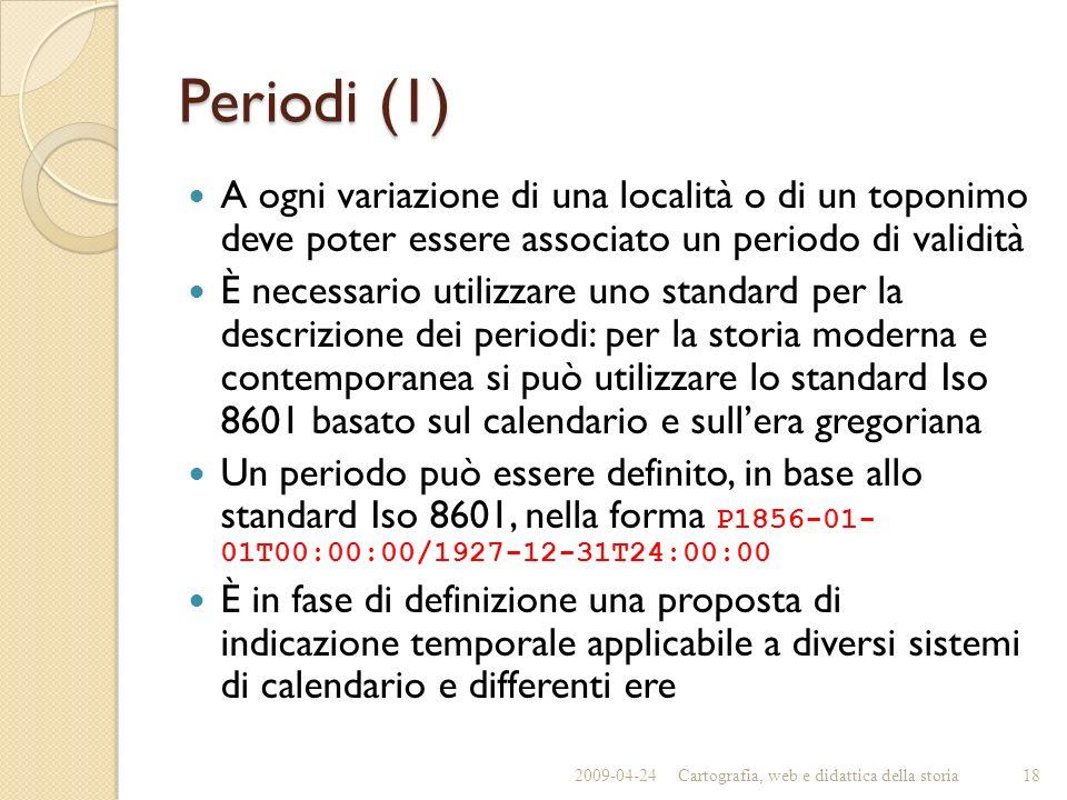 Periodi (1) A ogni variazione di una località o di un toponimo deve poter essere associato un periodo di validità È necessario utilizzare uno standard