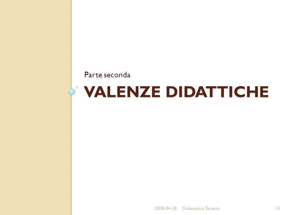 VALENZE DIDATTICHE Parte seconda 2008-04-2810Didamatica Taranto