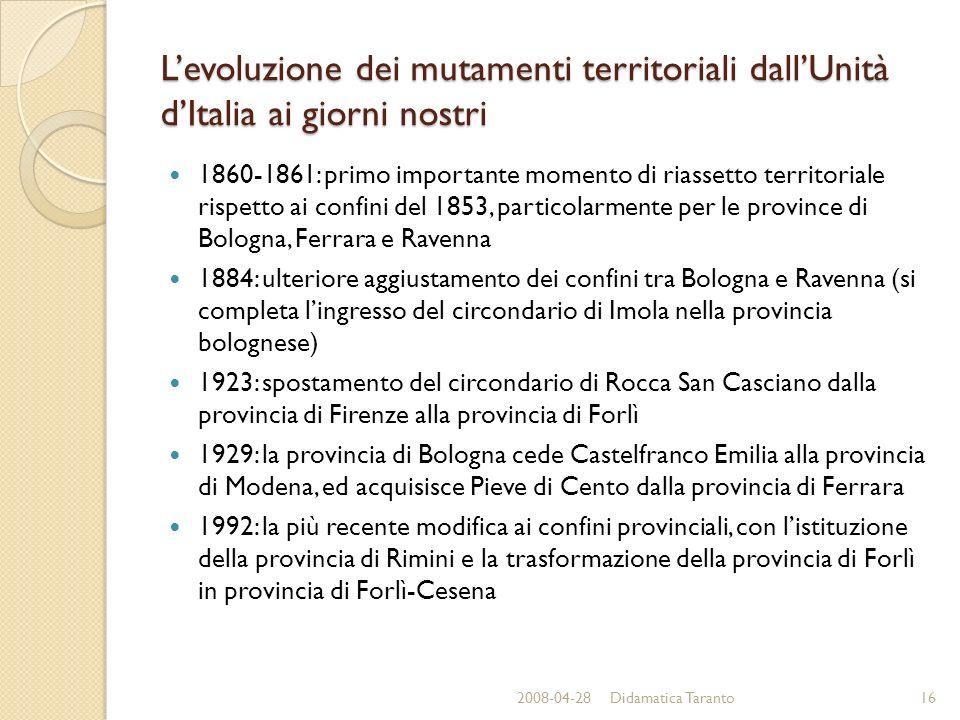 Levoluzione dei mutamenti territoriali dallUnità dItalia ai giorni nostri 1860-1861: primo importante momento di riassetto territoriale rispetto ai co