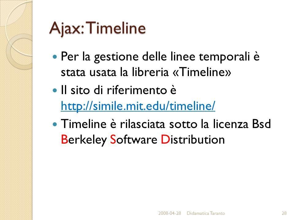 Ajax: Timeline Per la gestione delle linee temporali è stata usata la libreria «Timeline» Il sito di riferimento è http://simile.mit.edu/timeline/ Timeline è rilasciata sotto la licenza Bsd Berkeley Software Distribution 2008-04-2828Didamatica Taranto
