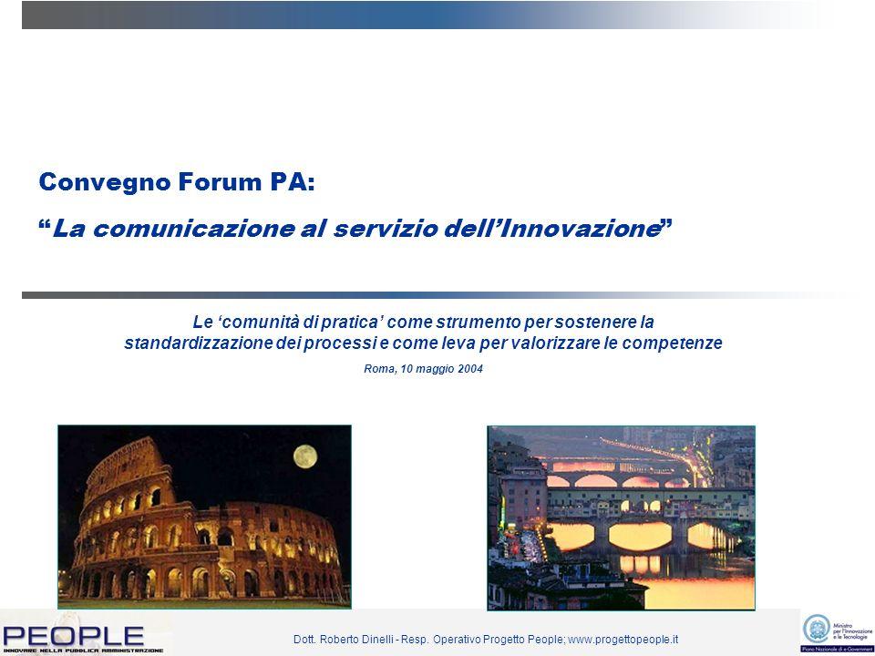 Dott. Roberto Dinelli - Resp. Operativo Progetto People; www.progettopeople.it Convegno Forum PA:La comunicazione al servizio dellInnovazione Le comun