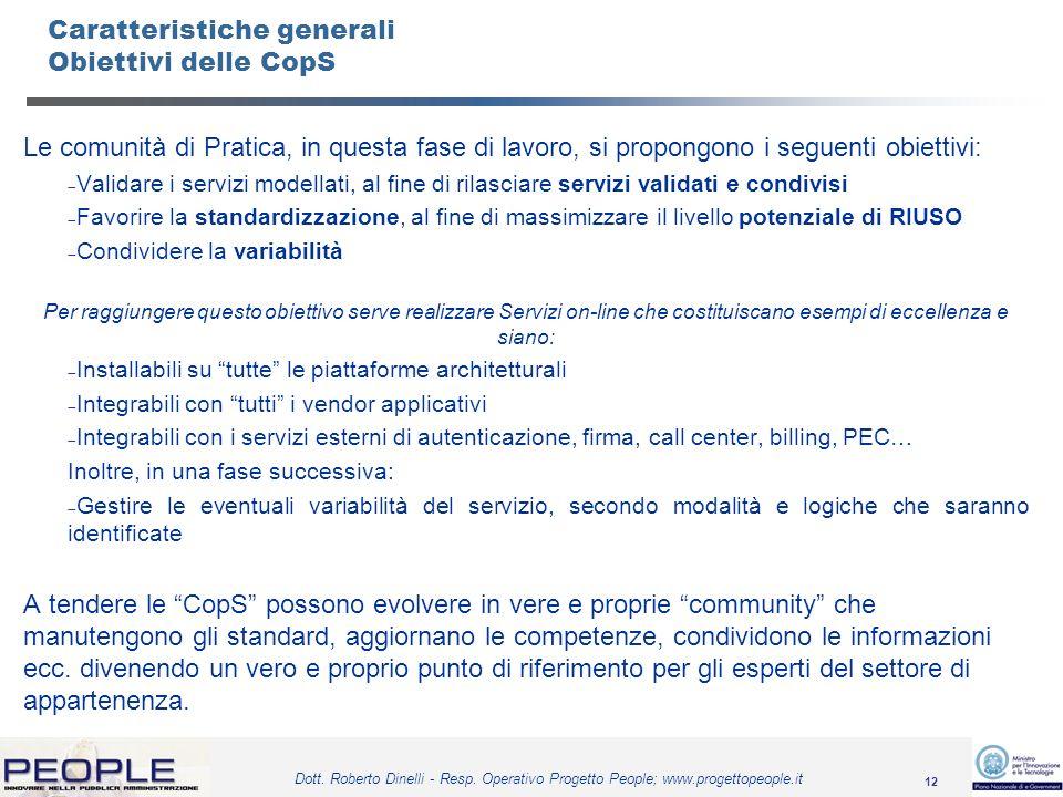 12 Dott. Roberto Dinelli - Resp. Operativo Progetto People; www.progettopeople.it Caratteristiche generali Obiettivi delle CopS Le comunità di Pratica