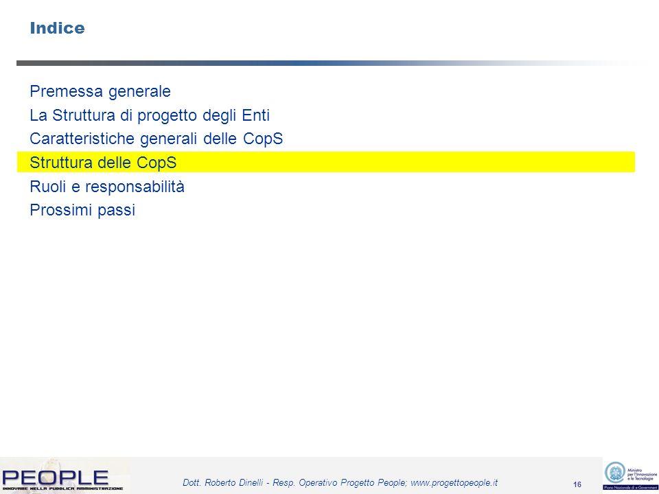 16 Dott. Roberto Dinelli - Resp. Operativo Progetto People; www.progettopeople.it Indice Premessa generale La Struttura di progetto degli Enti Caratte