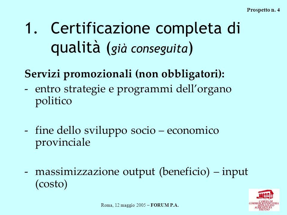 1.Certificazione completa di qualità ( già conseguita ) Servizi promozionali (non obbligatori): -entro strategie e programmi dellorgano politico -fine