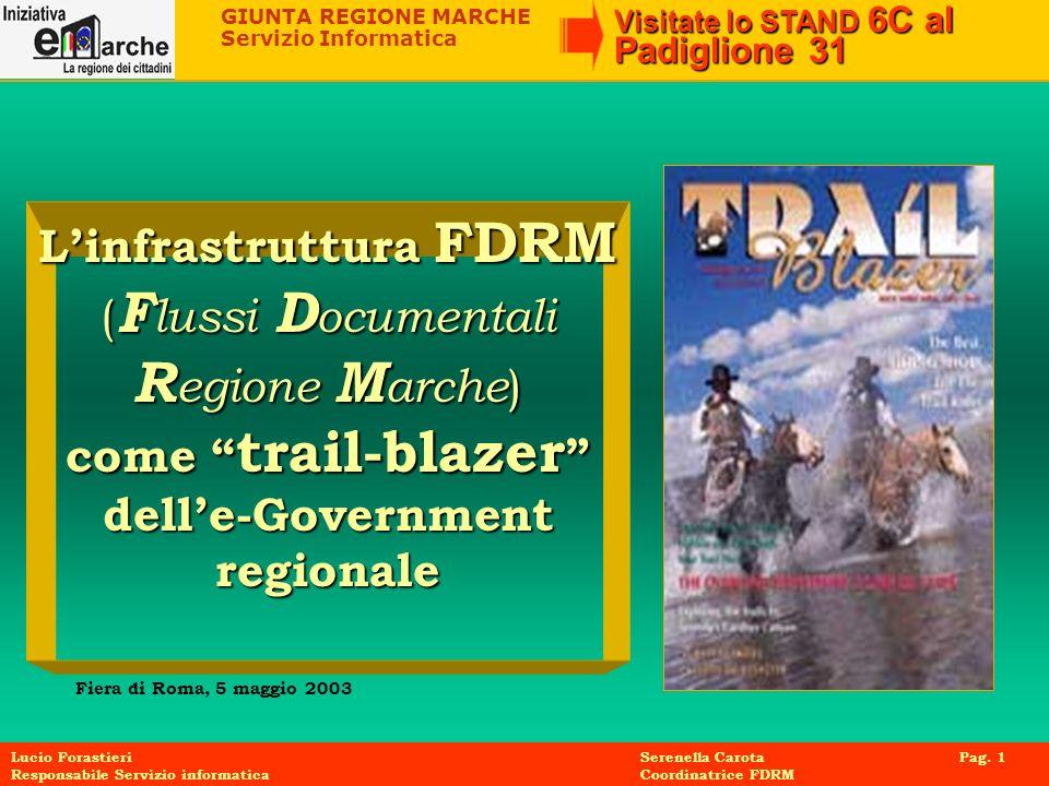 GIUNTA REGIONE MARCHE Servizio Informatica Visitate lo STAND 6C al Padiglione 31 Lucio Forastieri Serenella Carota Pag. 1 Responsabile Servizio inform