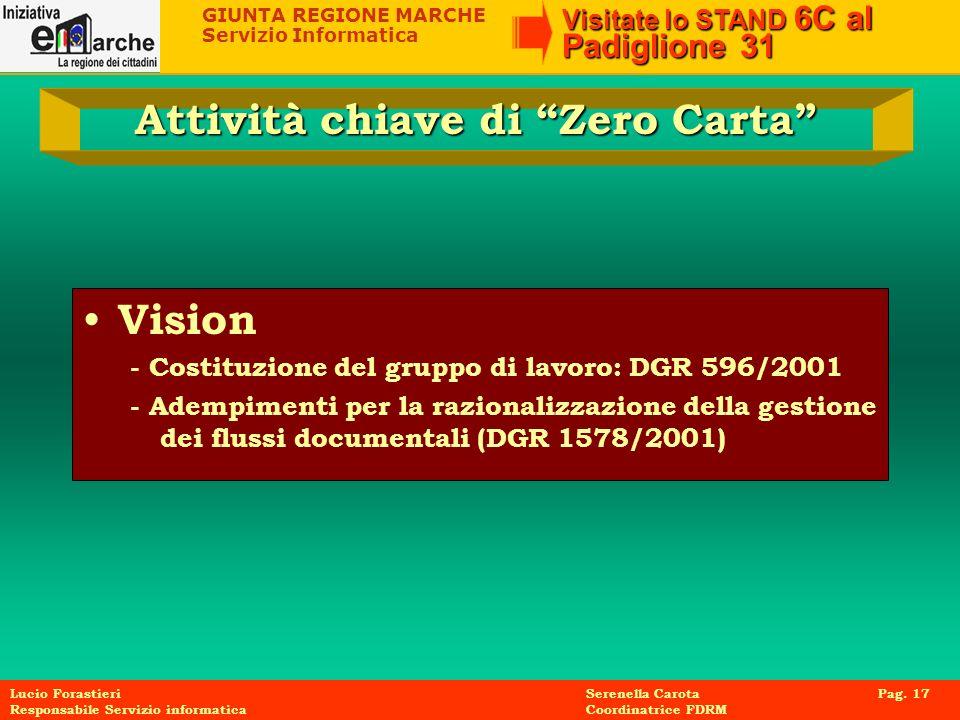 GIUNTA REGIONE MARCHE Servizio Informatica Visitate lo STAND 6C al Padiglione 31 Lucio Forastieri Serenella Carota Pag. 17 Responsabile Servizio infor